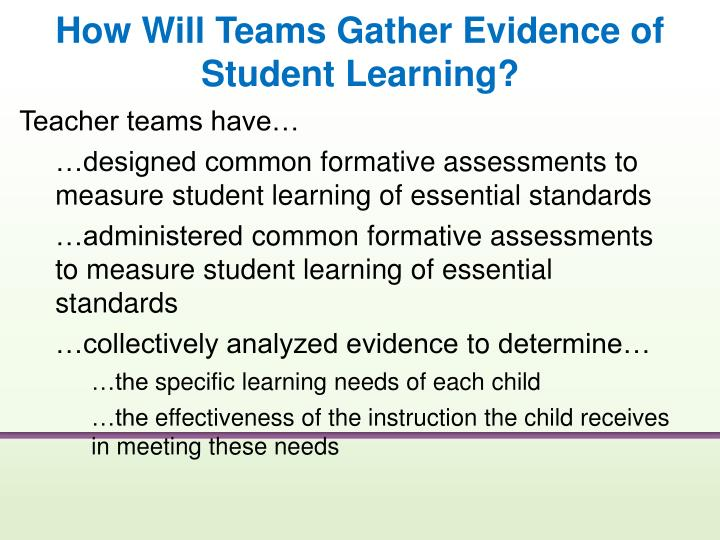 How Will Teams Gather Evidence of Student Learning?