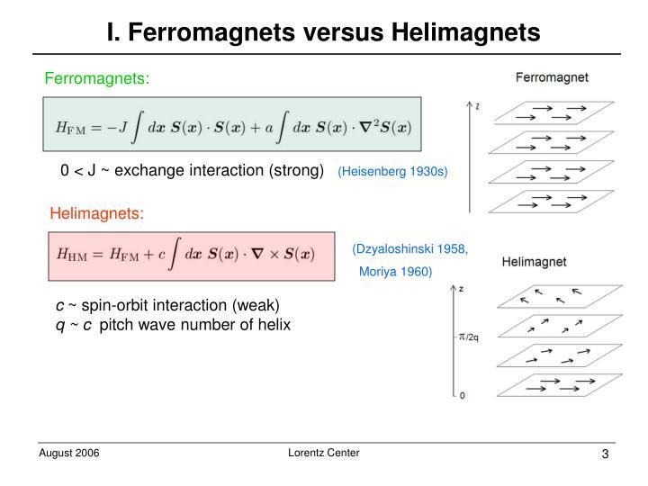 I. Ferromagnets versus Helimagnets