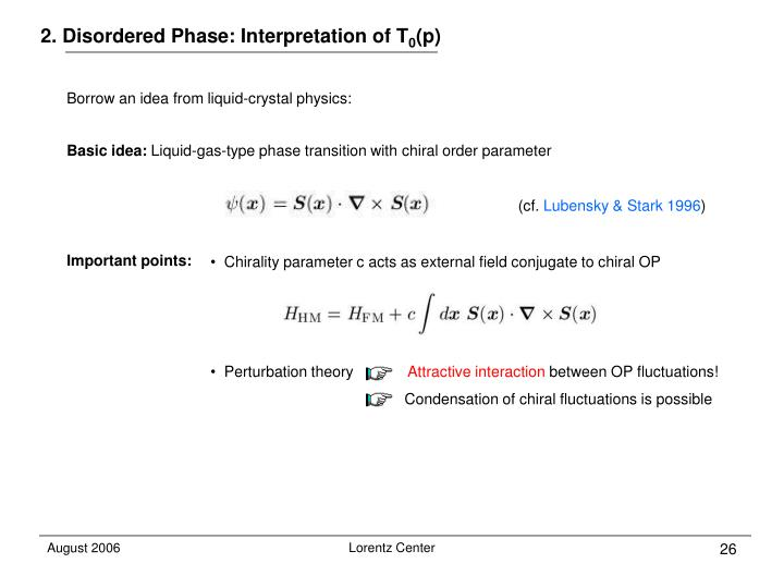 2. Disordered Phase: Interpretation of T
