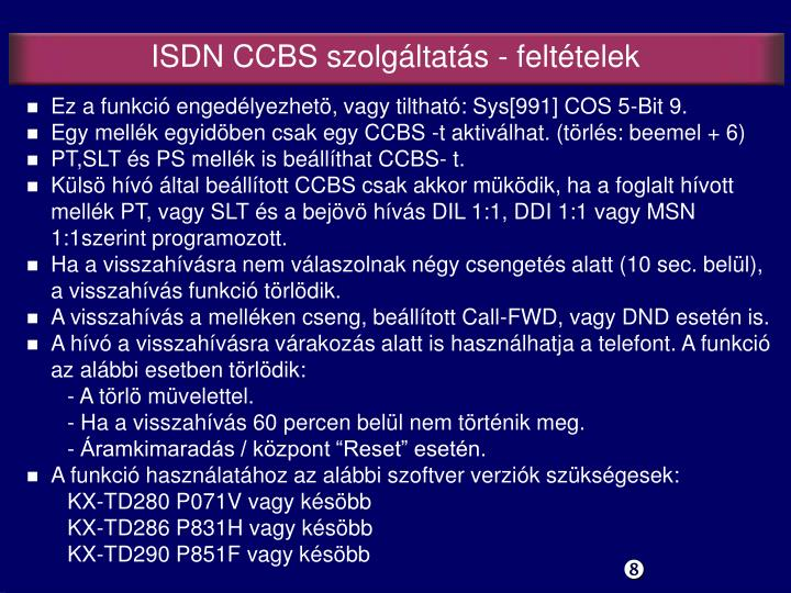 ISDN CCBS s