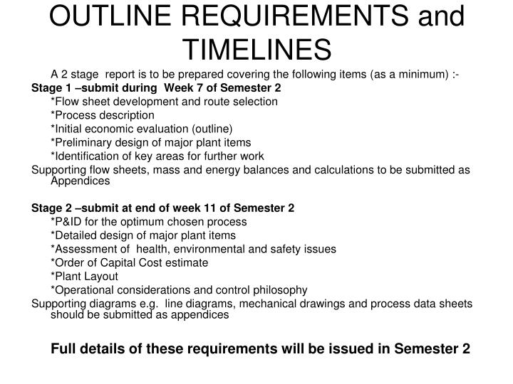 OUTLINE REQUIREMENTS and TIMELINES