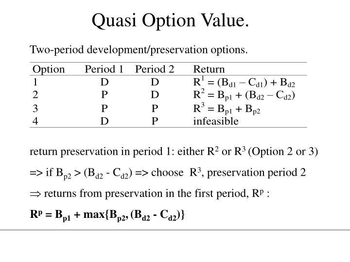 Quasi Option Value.
