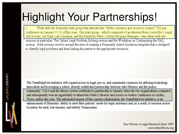 Highlight Your Partnerships!