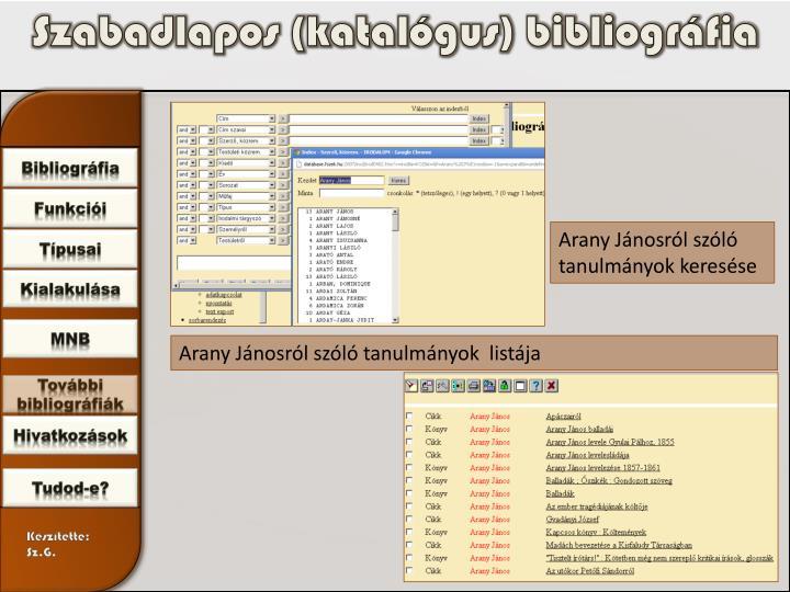 Szabadlapos (katalógus) bibliográfia