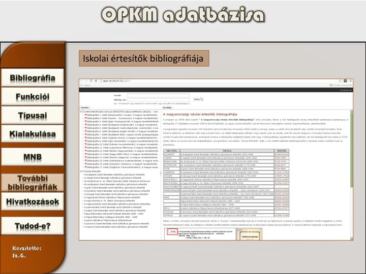 OPKM adatbázisa
