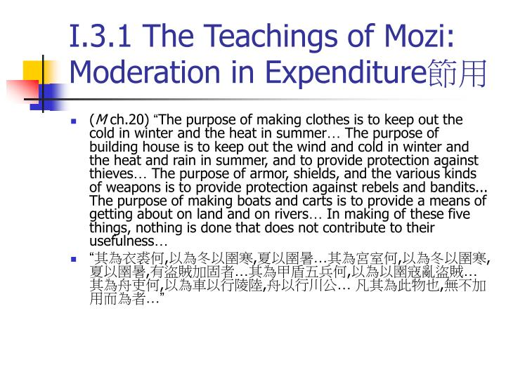 I.3.1 The Teachings of Mozi: Moderation in Expenditure