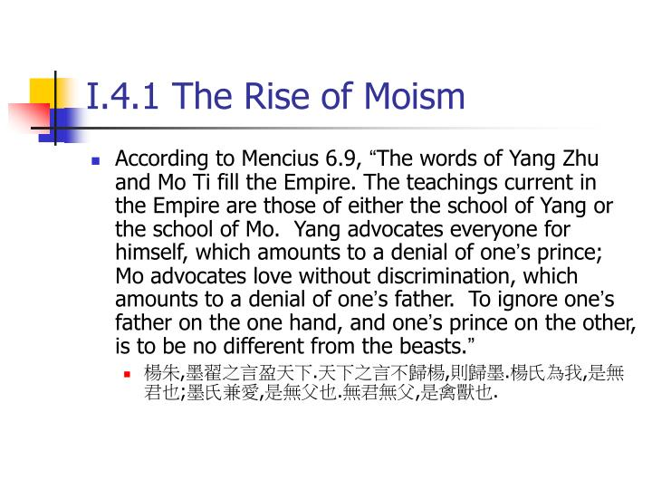 I.4.1 The Rise of Moism