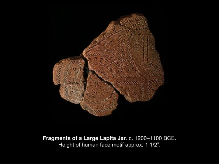 Fragments of a large lapita jar c 1200 1100 bce height of human face motif approx 1 1 2