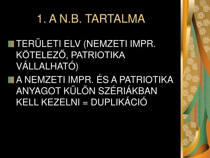 1. A N.B. TARTALMA