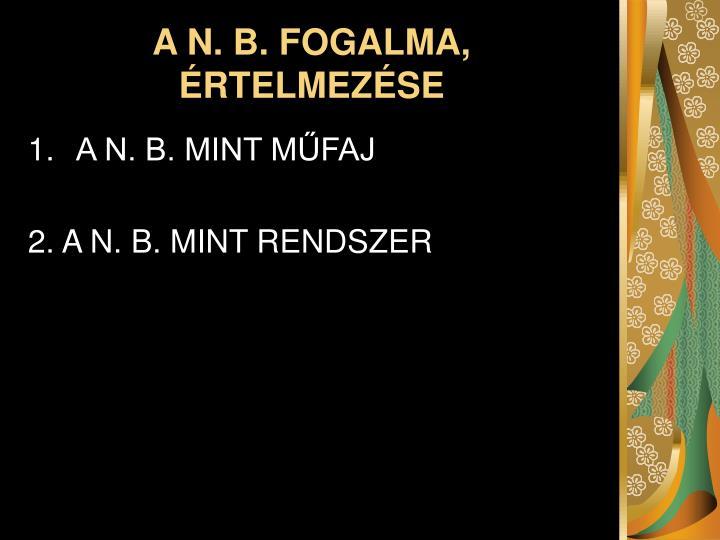 A N. B. FOGALMA, ÉRTELMEZÉSE