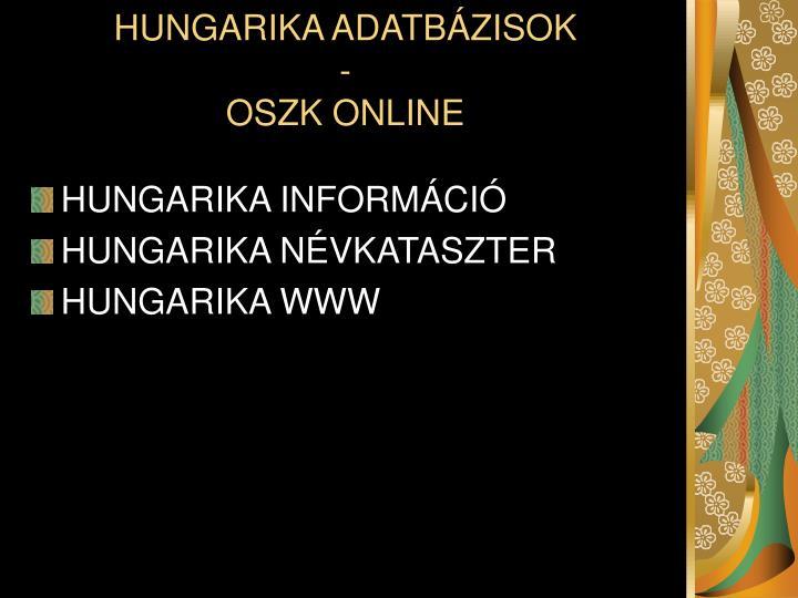 HUNGARIKA ADATBÁZISOK