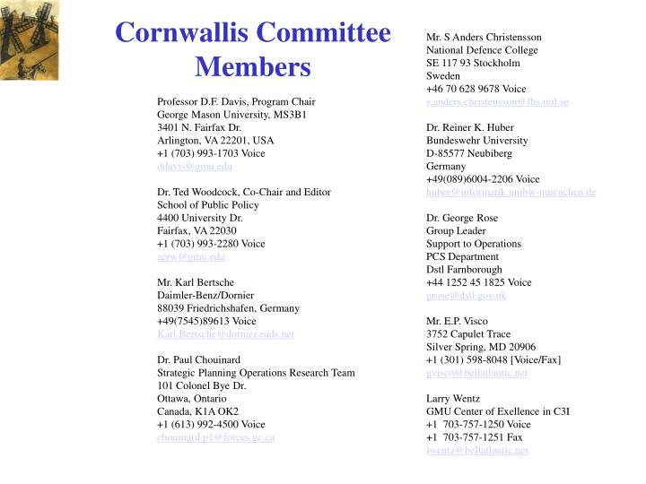 Cornwallis Committee Members