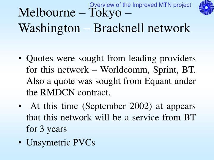 Melbourne – Tokyo – Washington – Bracknell network