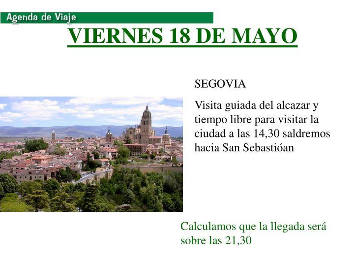 VIERNES 18 DE MAYO
