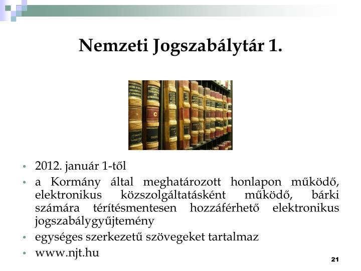 Nemzeti Jogszabálytár 1.