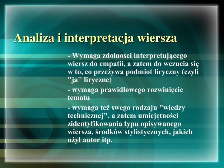 Analiza i interpretacja wiersza