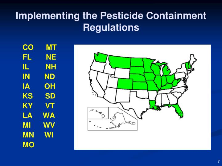 Implementing the Pesticide Containment Regulations