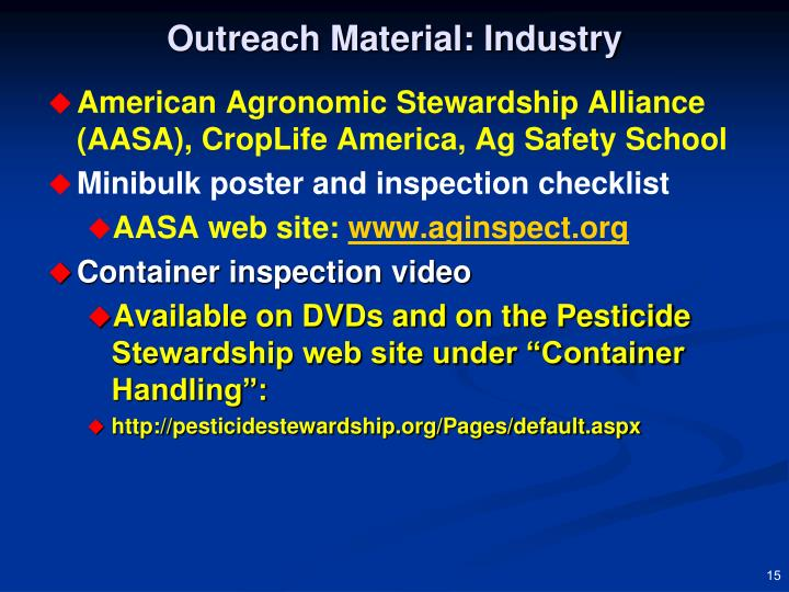 Outreach Material: Industry