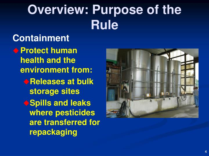 Overview: Purpose of the Rule