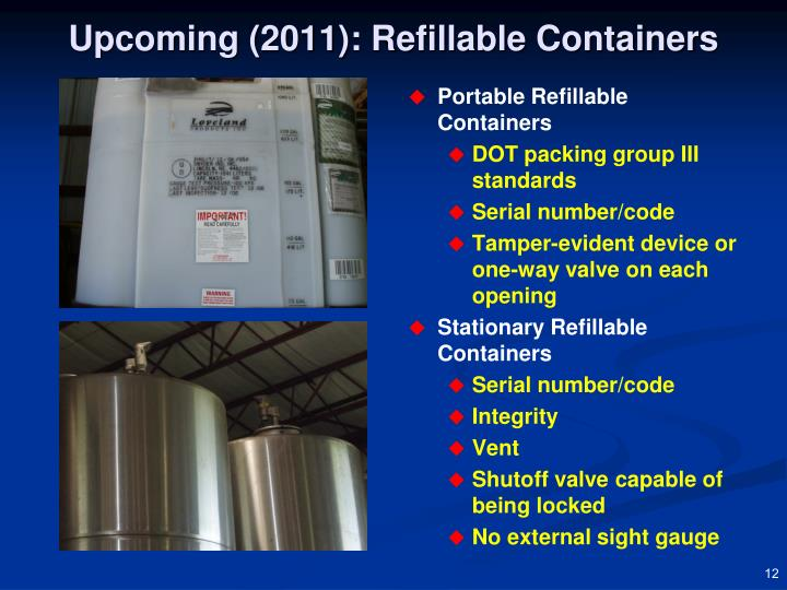 Upcoming (2011): Refillable Containers