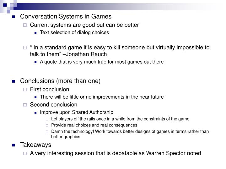 Conversation Systems in Games