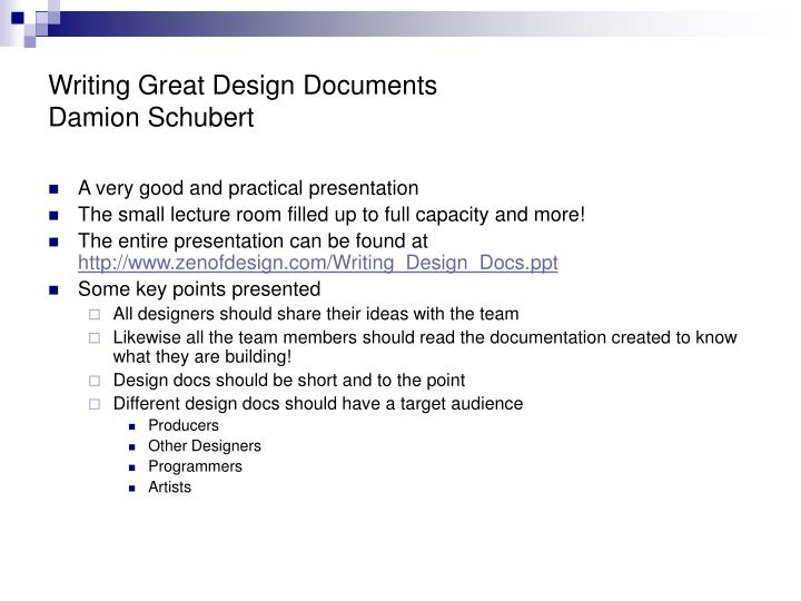 Writing Great Design Documents