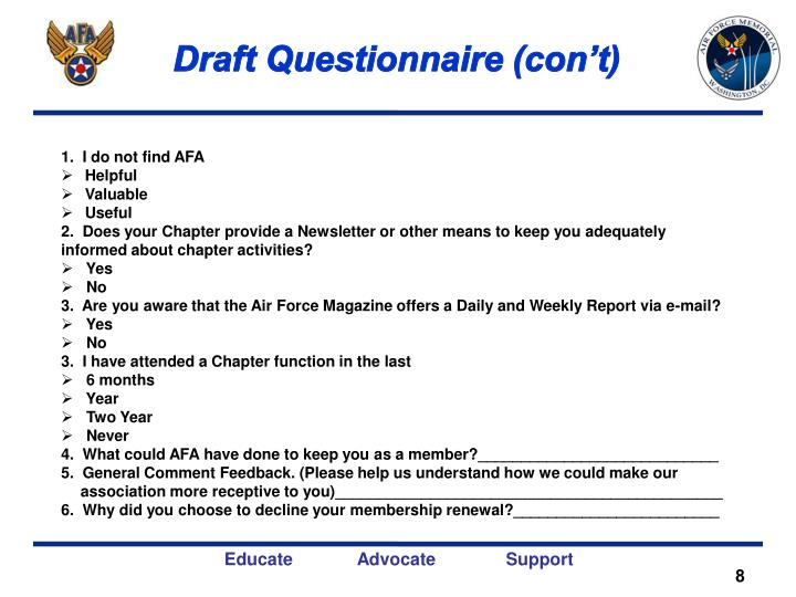 Draft Questionnaire (con't)