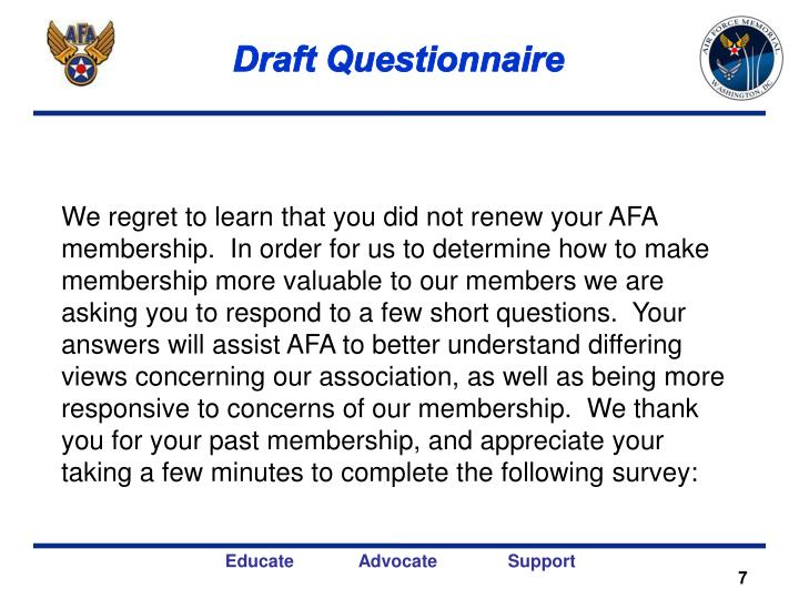 Draft Questionnaire