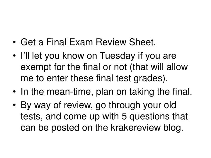 exam review sheet