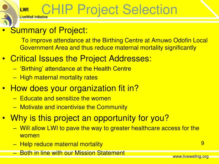 CHIP Project Selection