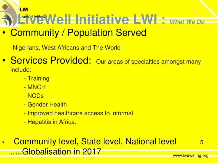 LiveWell Initiative LWI :