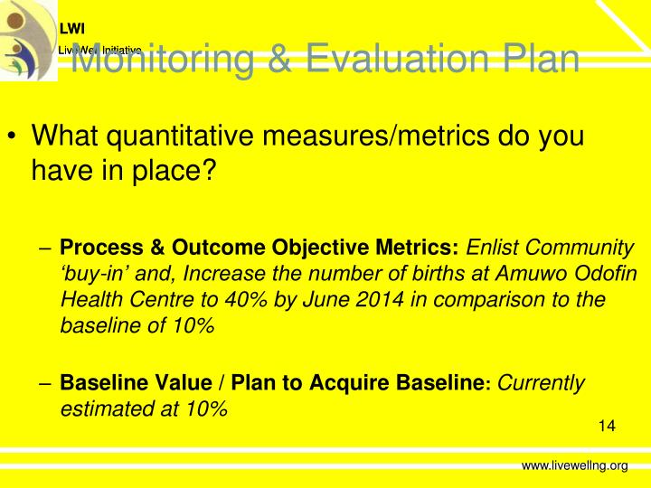 Monitoring & Evaluation Plan