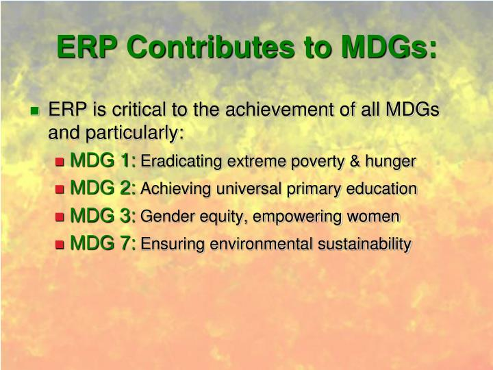 ERP Contributes to MDGs: