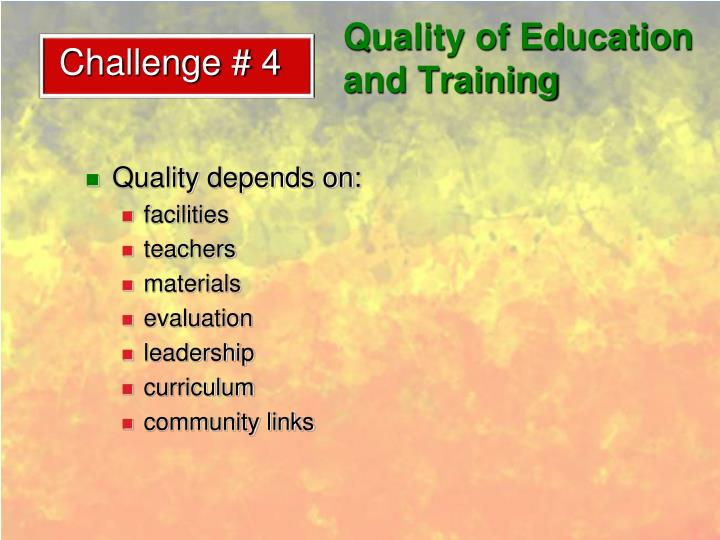 Quality of Education and Training