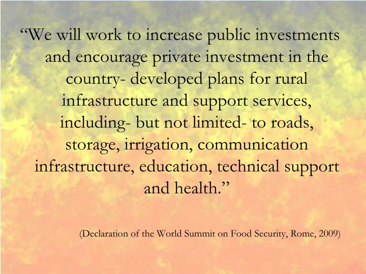 """We will work to increase public investments and encourage private investment in the country- developed plans for rural infrastructure and support services, including- but not limited- to roads, storage, irrigation, communication infrastructure, education, technical support and health."""