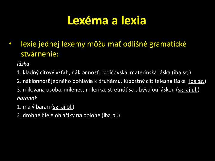 Lexéma a lexia