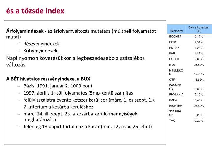 és a tőzsde index