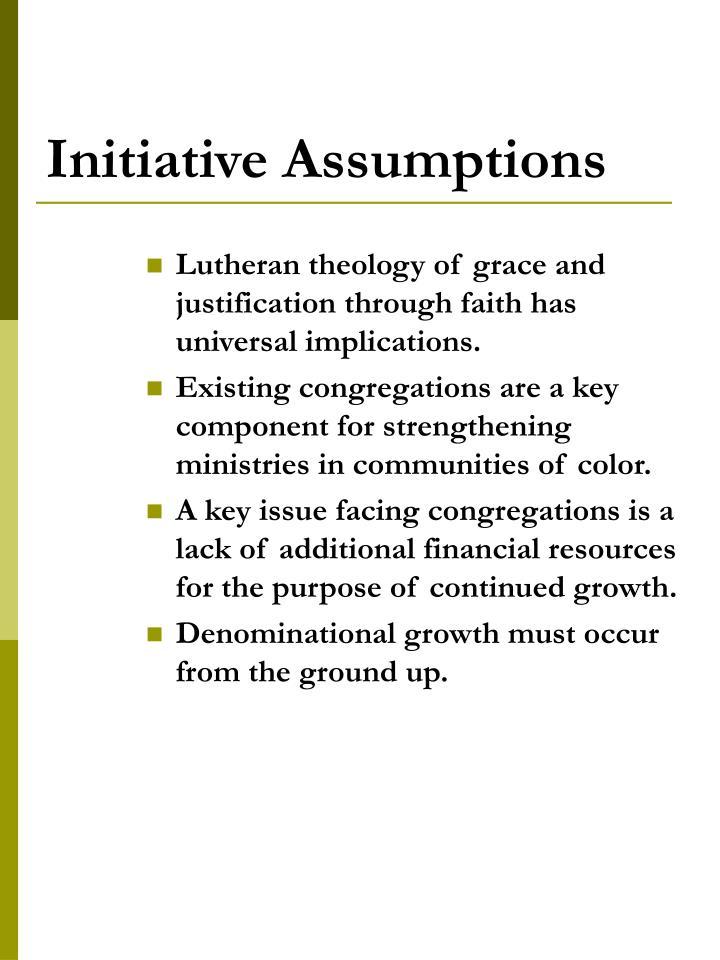 Initiative Assumptions