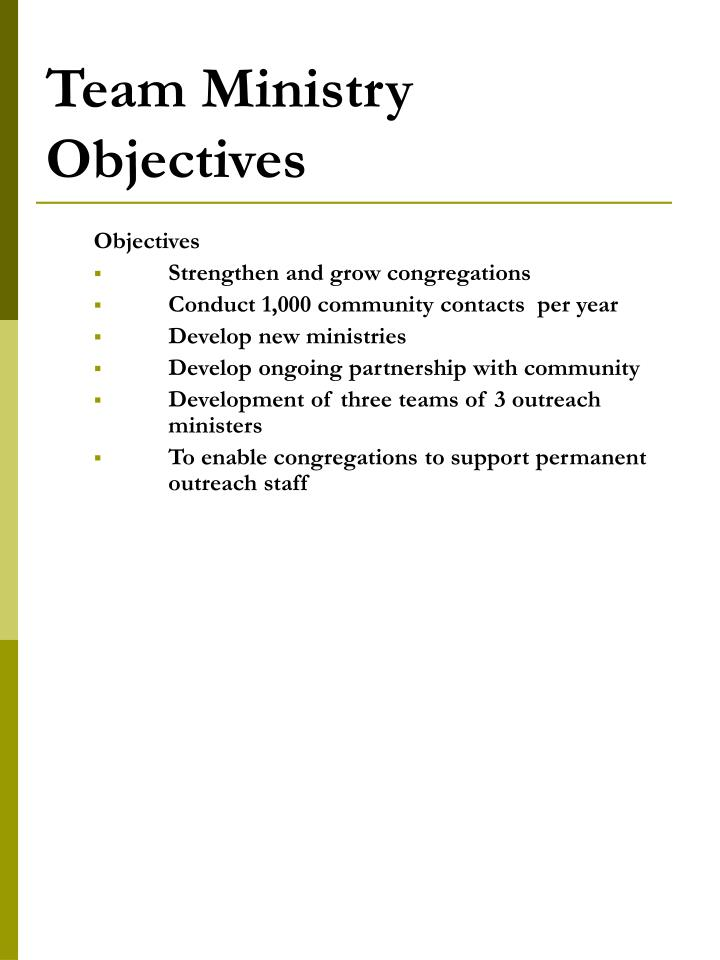 Team Ministry Objectives