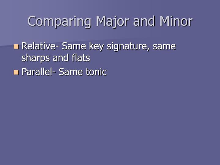 Comparing Major and Minor