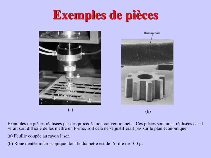Exemples de pièces