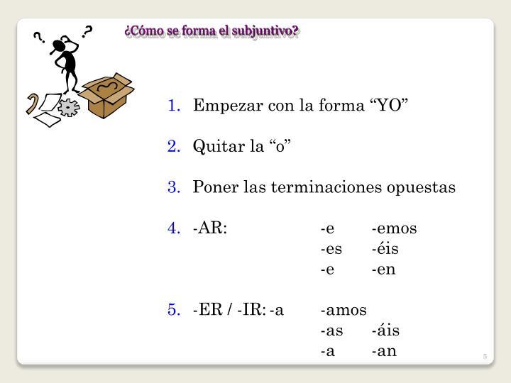 ¿Cómo se forma el subjuntivo?