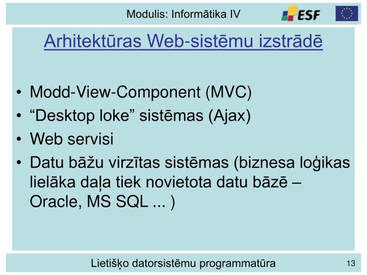 Arhitektūras Web-sistēmu izstrādē