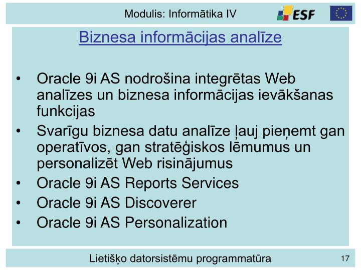 Biznesa informācijas analīze