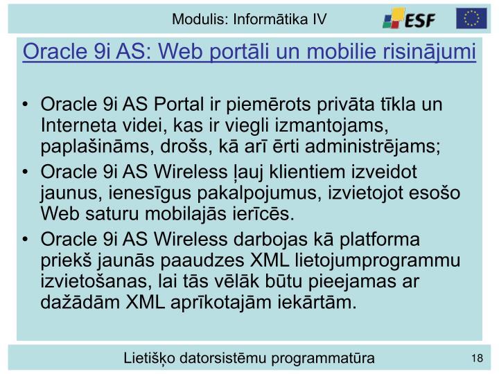 Oracle 9i AS: Web portāli un mobilie risinājumi