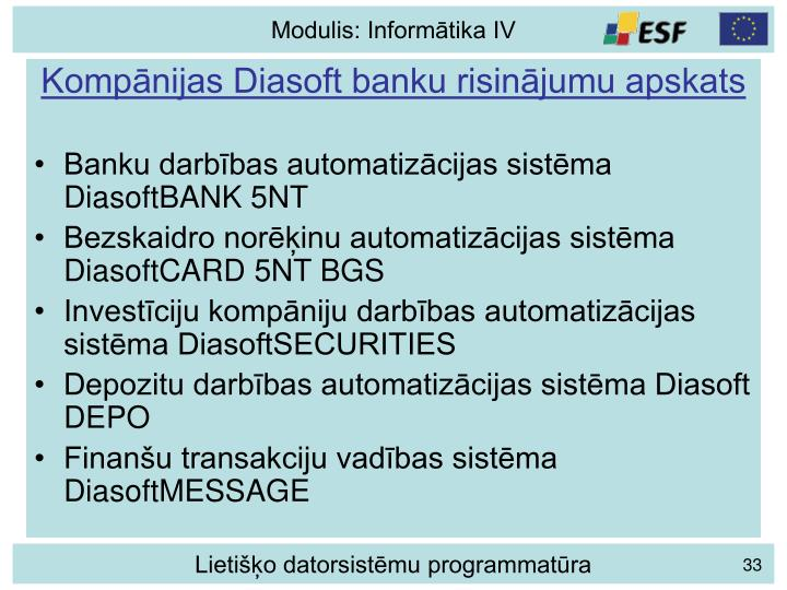 Kompānijas Diasoft banku risinājumu apskats