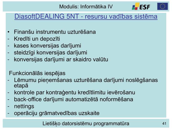 DiasoftDEALING 5NT - resursu vadības sistēma