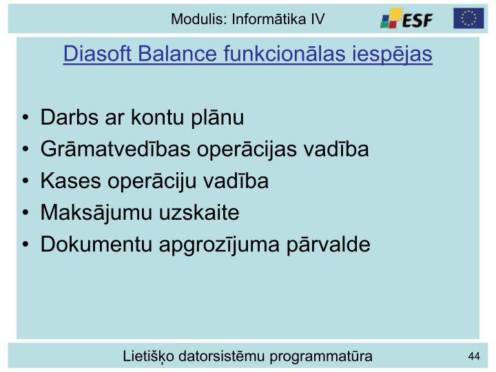 Diasoft Balance funkcionālas iespējas