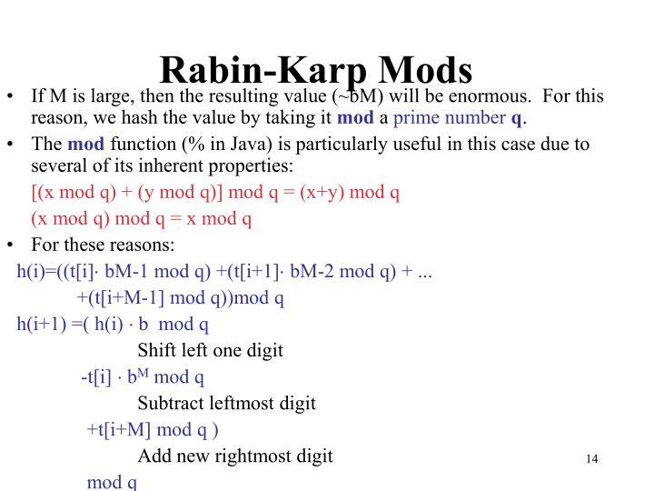 Rabin-Karp Mods