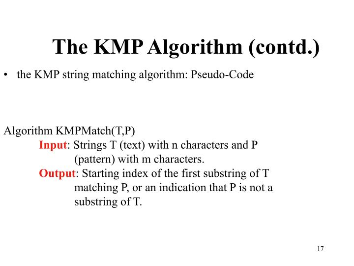 The KMP Algorithm (contd.)